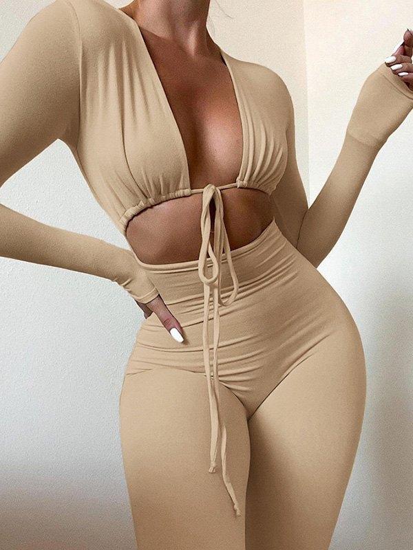 Tie Front Cutout Long Sleeve Jumpsuit -