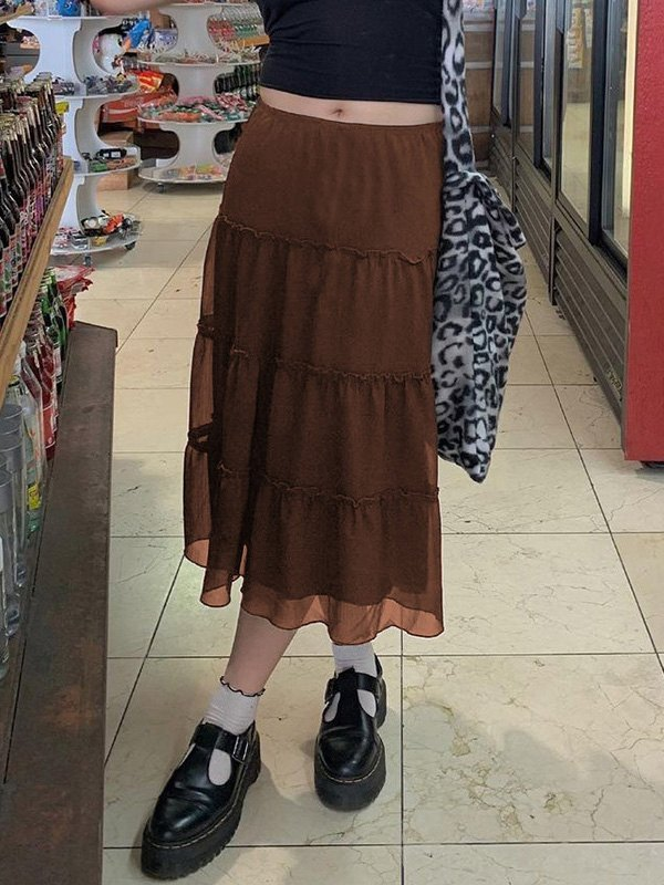 Mesh Paneled Tiered Midi Skirt -