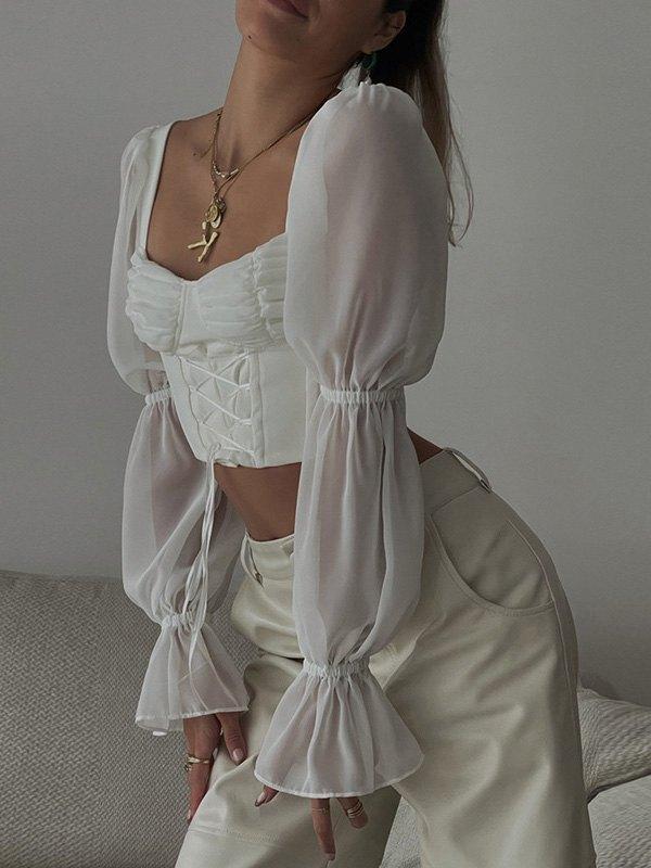 Mesh Long Sleeve Crop Blouse - White M