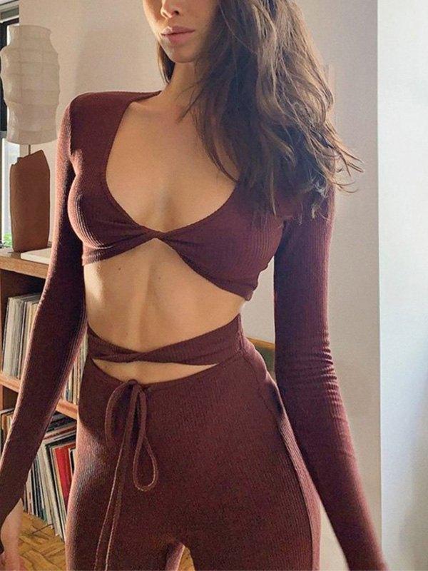 Twist Ribbed Long Sleeve Set -