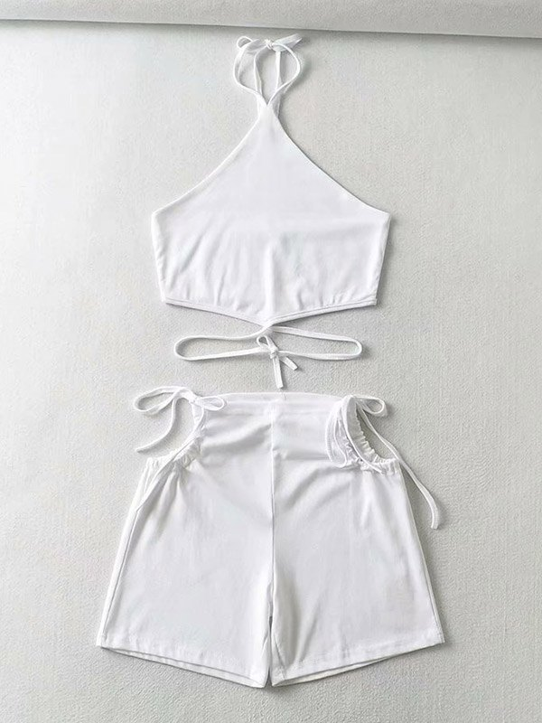 Lace Up Cutout Shorts Set -