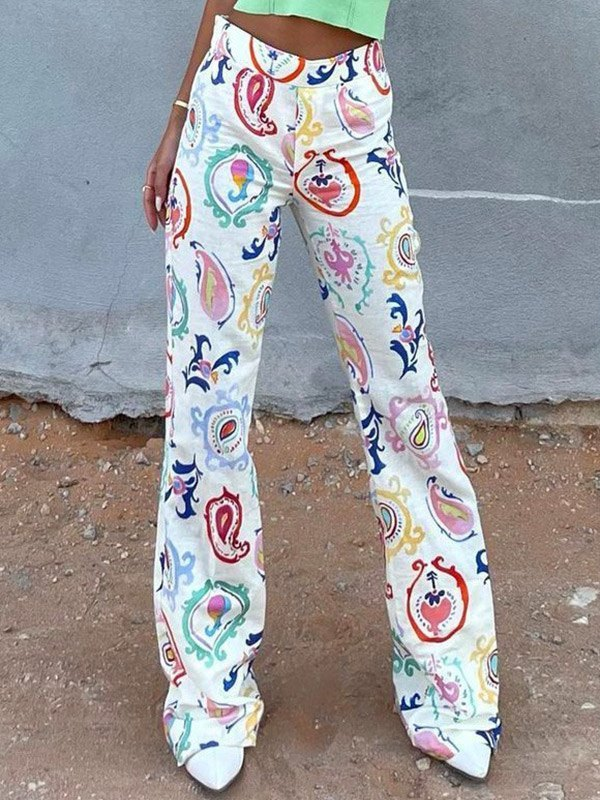 Paisley Print Flare Pants -