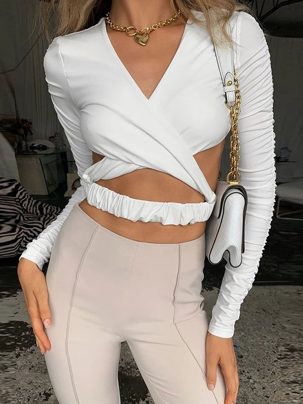 Backless Long Sleeve Wrap Crop Top - White L