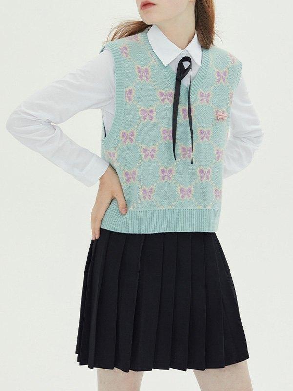 Bowknot Jacquard Crop Sweater Vest - Green S