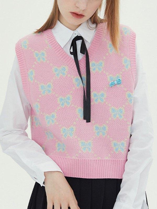 Bowknot Jacquard Crop Sweater Vest - Pink S
