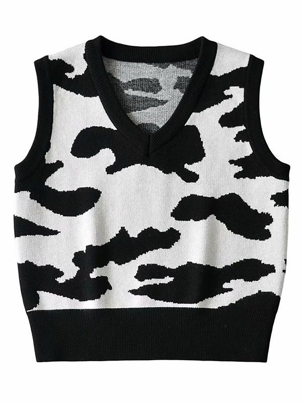 Cow Print Crop Sweater Vest - As The Picture M