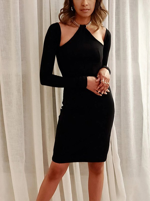 Long Sleeve Halter Chain Mini Dress - Black S