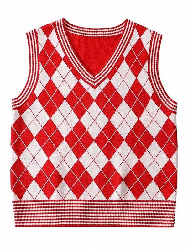 Argyle Knit Crop Sweater Vest - Red S