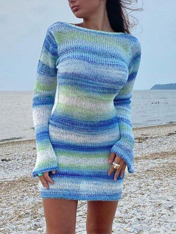 Backless Knitted Long Sleeve Mini Dress - Blue S