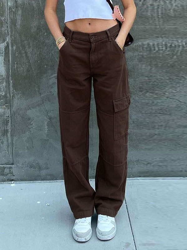 Pocket Patched Straight Cargo Jeans - Brown L