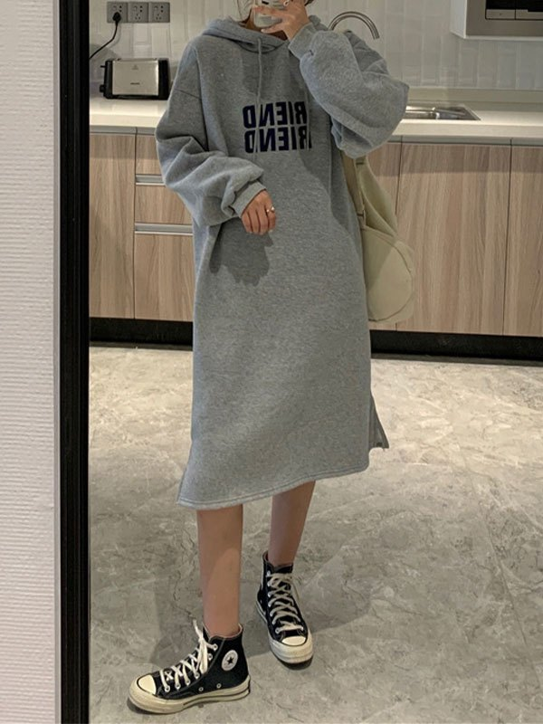 Letter Print Long Sleeve Hooded Maxi Dress - Gray ONE SIZE