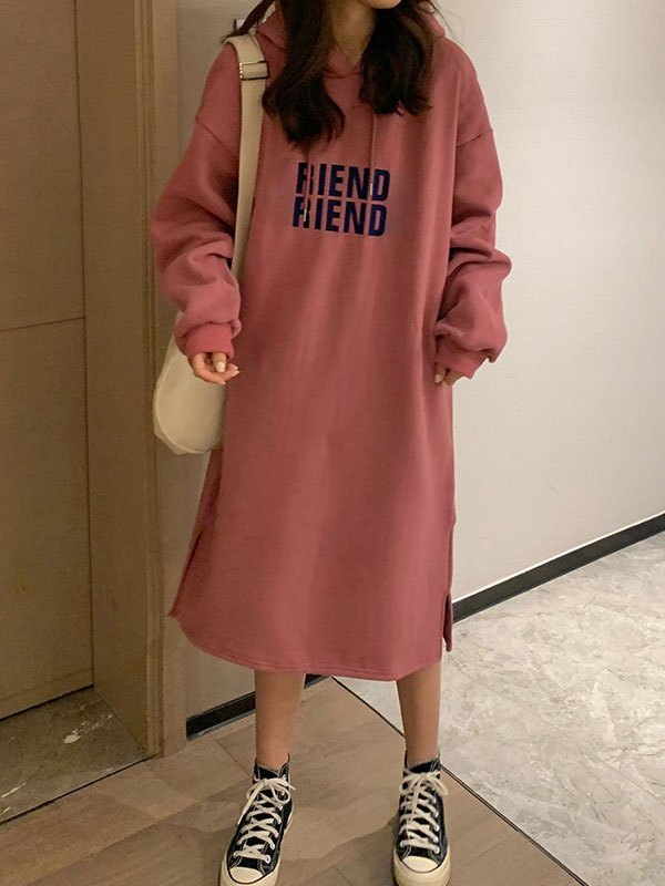 Letter Print Long Sleeve Hooded Maxi Dress - Pink ONE SIZE