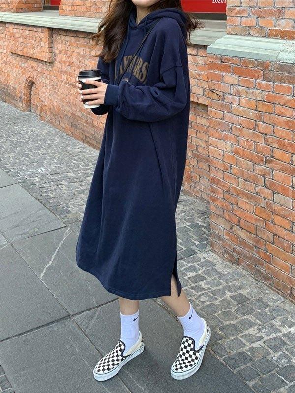 Split Long Sleeve Hooded Maxi Dress - Navy Blue ONE SIZE