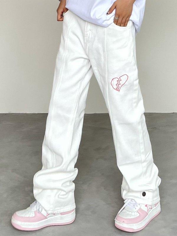 Heart Embroidered Boyfriend Jeans - White L