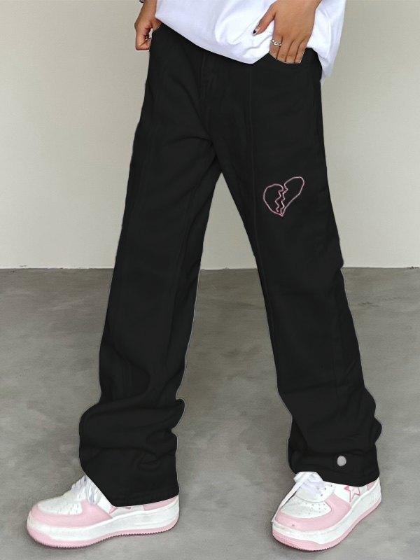Heart Embroidered Boyfriend Jeans - Black M