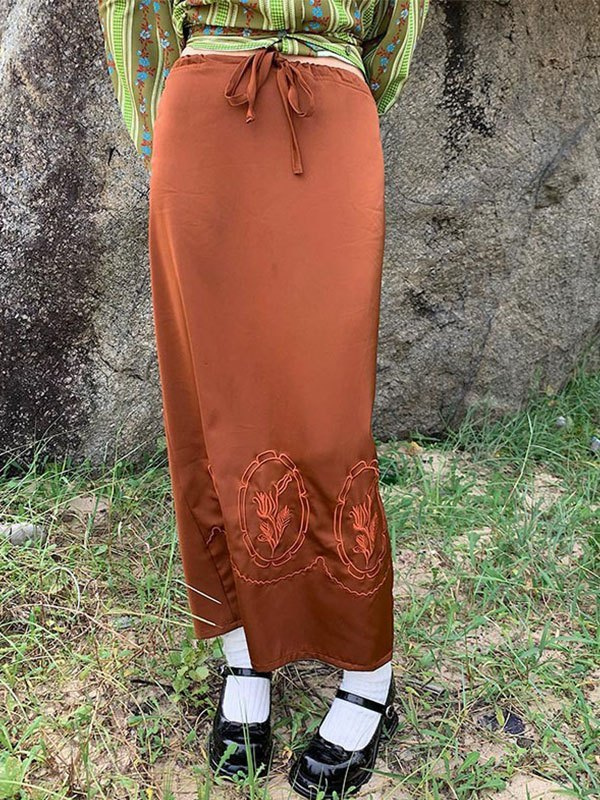 Lace Up Embroidery Maxi Skirt - Camel S