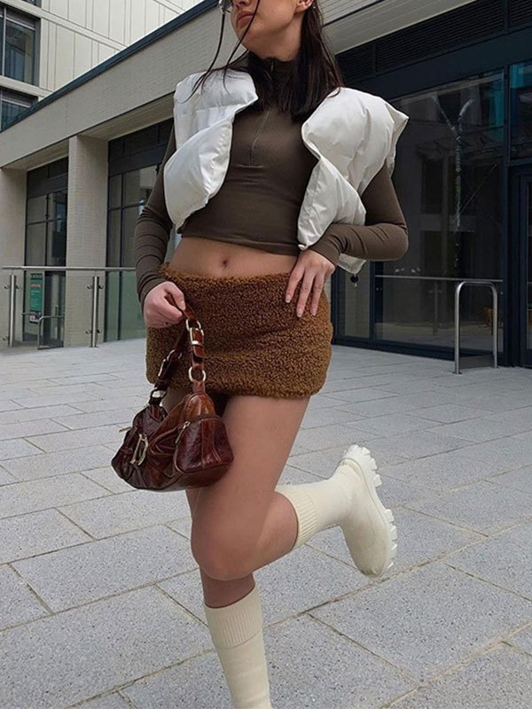 Cropped Sleeveless Puffer Jacket - White S