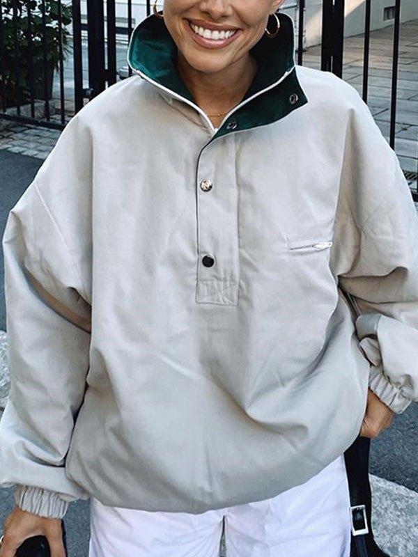 Contrast Collar Oversized Jacket - Gray L