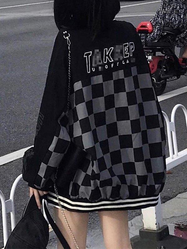Patchwork Checkered Varsity Jacket - Black S
