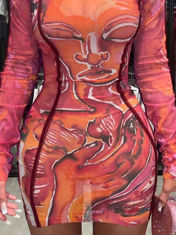 Abstract Print Long Sleeve Mini Dress - Red S