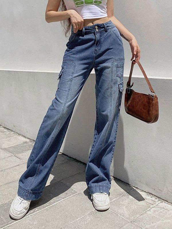 Pocket Patched Button Cargo Jeans - Blue L