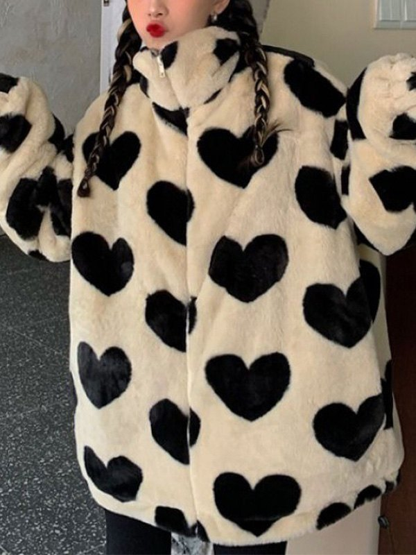 Oversize Heart Pattern Sherpa Coat - White XL