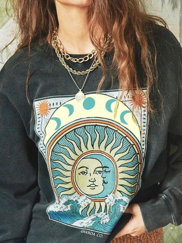 Sun Moon Graphic Crew Sweatshirt - Dark Gray M