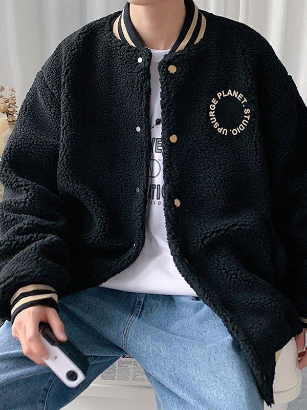 Men's Embroidery Fleece Varsity Jacket - Black M