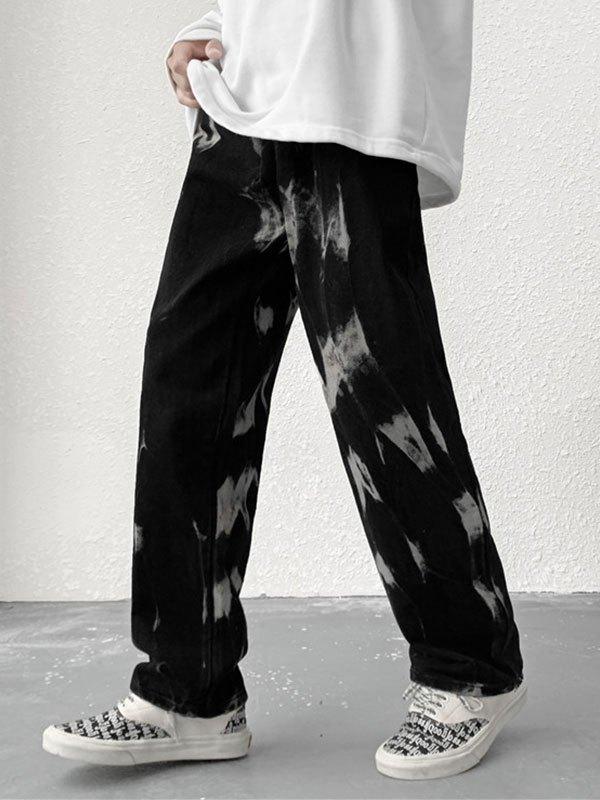Men's Tie Dye Cropped Jeans - Black XL