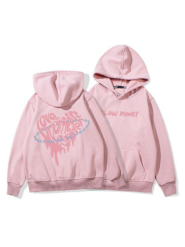 Surround Love Printed Hoodie - Pink M