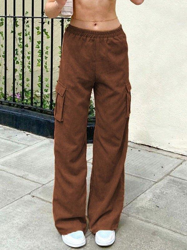 Corduroy Pocket Straight Leg Pants - Brown M