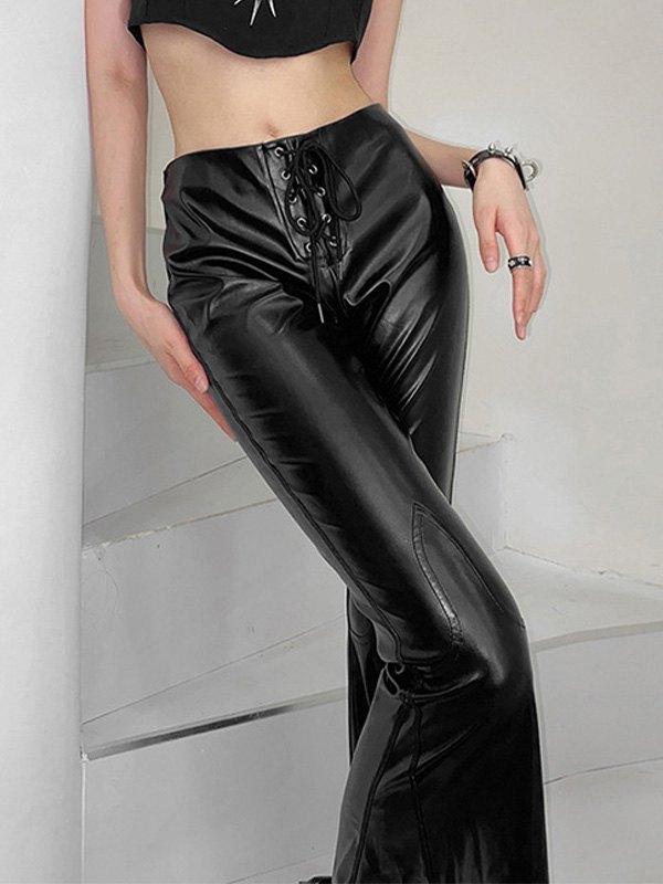 Lace Up Flare Leg Pu Leather Pants - Black M