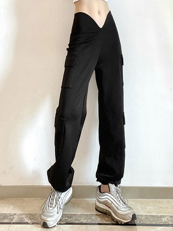 V Cut Waistband Jogger Pants - Black S