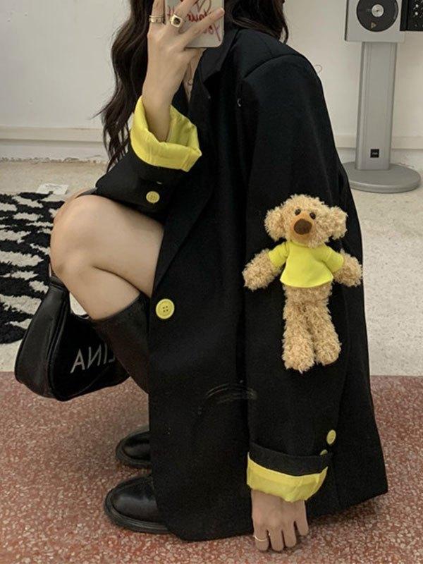 Bear Detail Buttoned Blazer - Black S