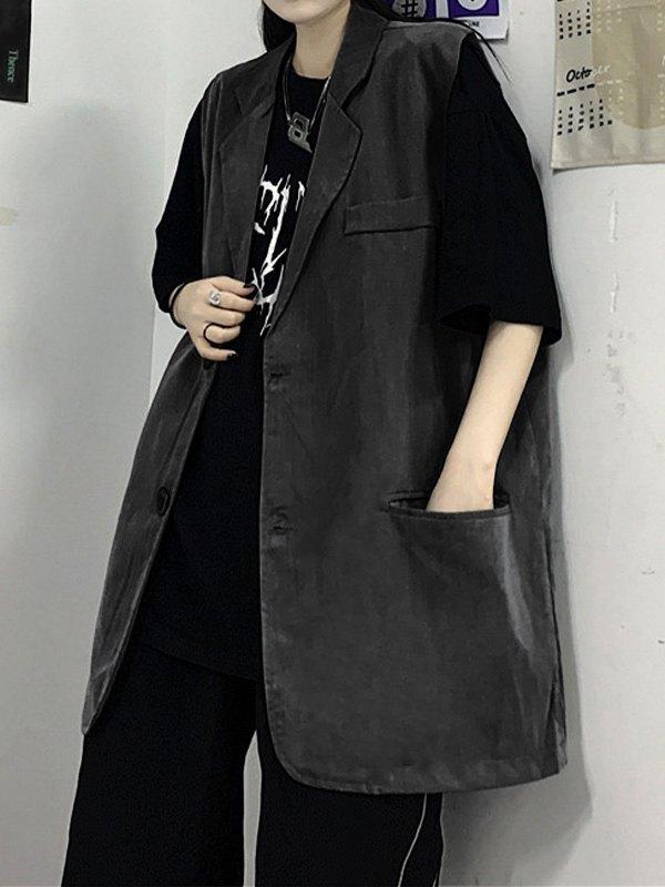 Sleeveless Button Down Blazer - Black L