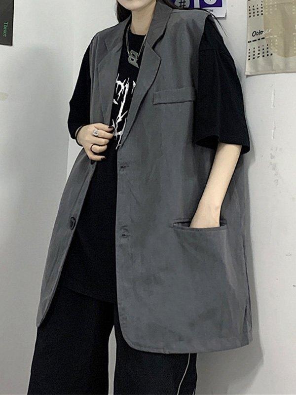 Sleeveless Button Down Blazer - Gray L