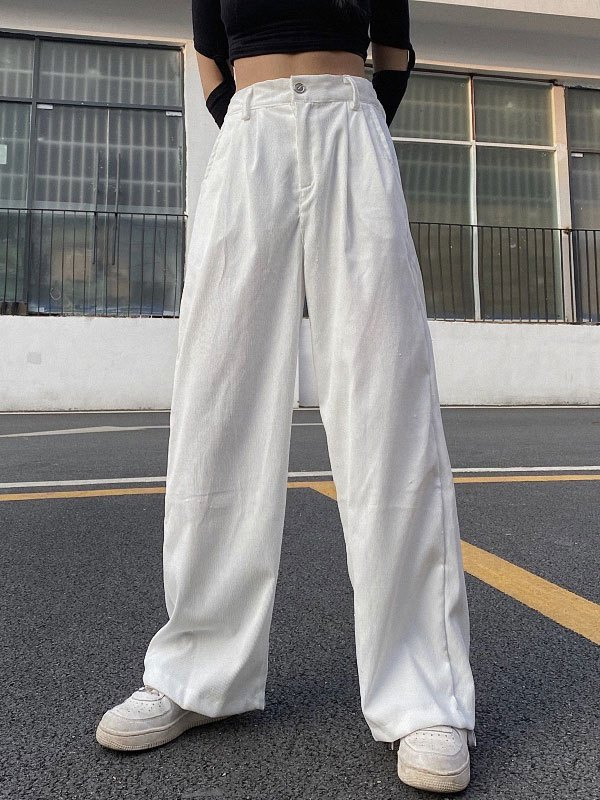 Corduroy Solid Straight Leg Pants - White S