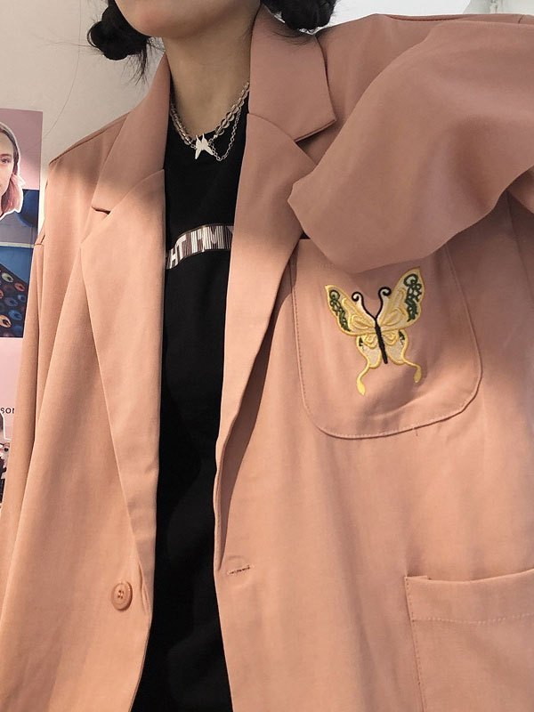 Oversized Butterfly Embroidered Blazer - Pink L
