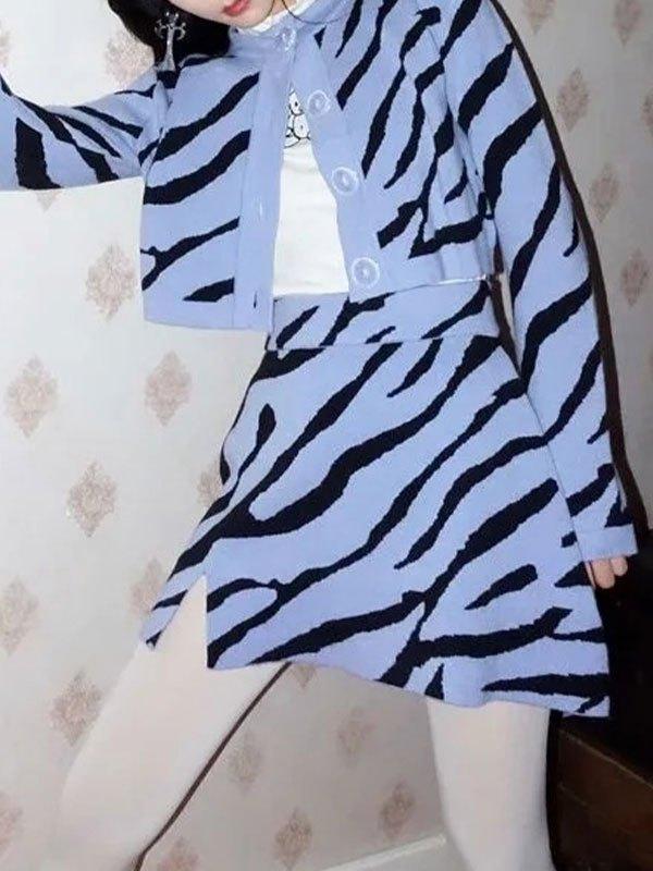 Zebra Stripe Knitted Set - White L