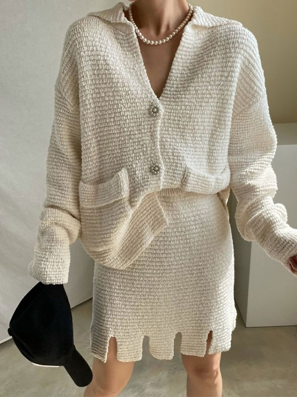 Buttoned Long Sleeve Knit Set - Beige ONE SIZE
