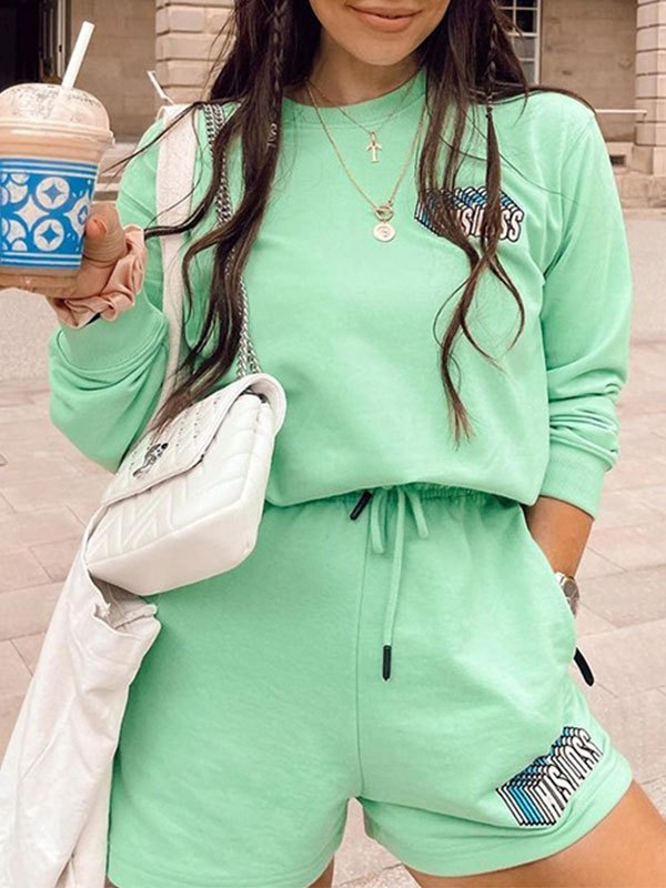 Copy Letter Printed Tracksuit Set - Biscay Green S