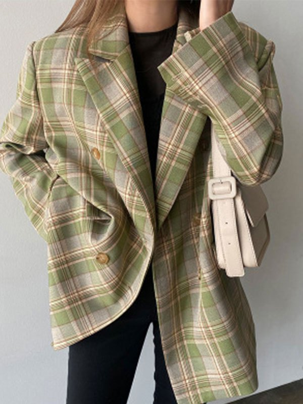 Double Breasted Checkered Print Blazer - Sorbet Lime Green L