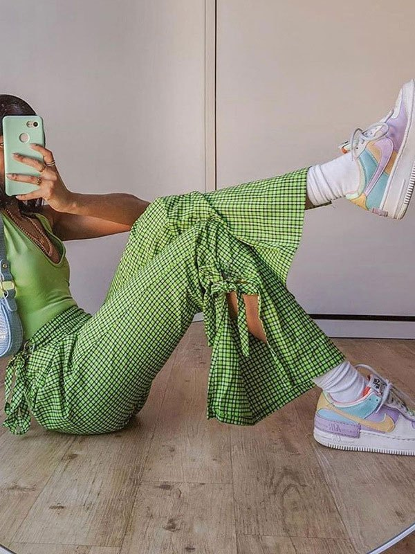 Lace Up Checkered Flare Leg Pants - Green L