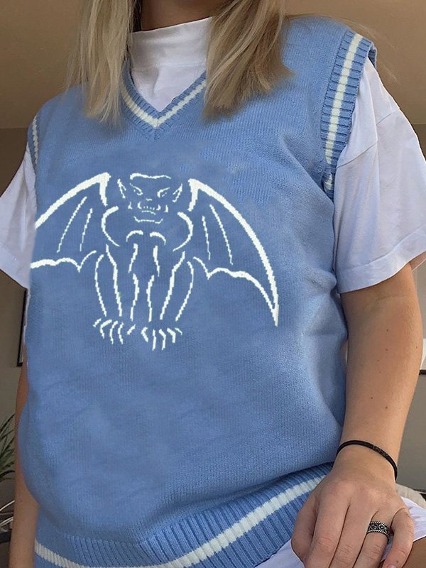 V Neck Demon Sweater Vest - Blue S