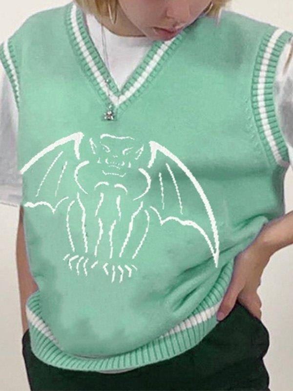 V Neck Demon Sweater Vest - Green S
