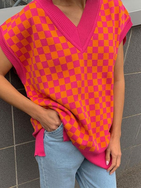 V Neck Contrast Checkered Sweater Vest - Beetroot Purple M