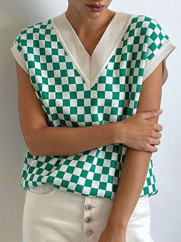 V Neck Contrast Checkered Sweater Vest - Green L