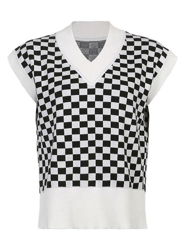 V Neck Contrast Checkered Sweater Vest - Black L