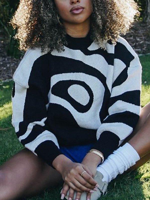 Geometric Jumper Knit Sweater - Black L