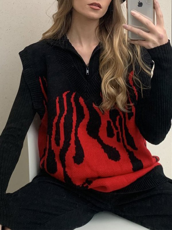 V Neck Flame Oversized Sweater Vest - Red ONE SIZE